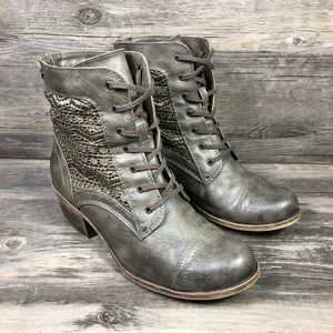 Roxy Indio Lace Accent Heeled Lace Up Boots